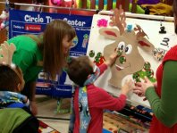 Playing Pin the Nose on Rudolph.